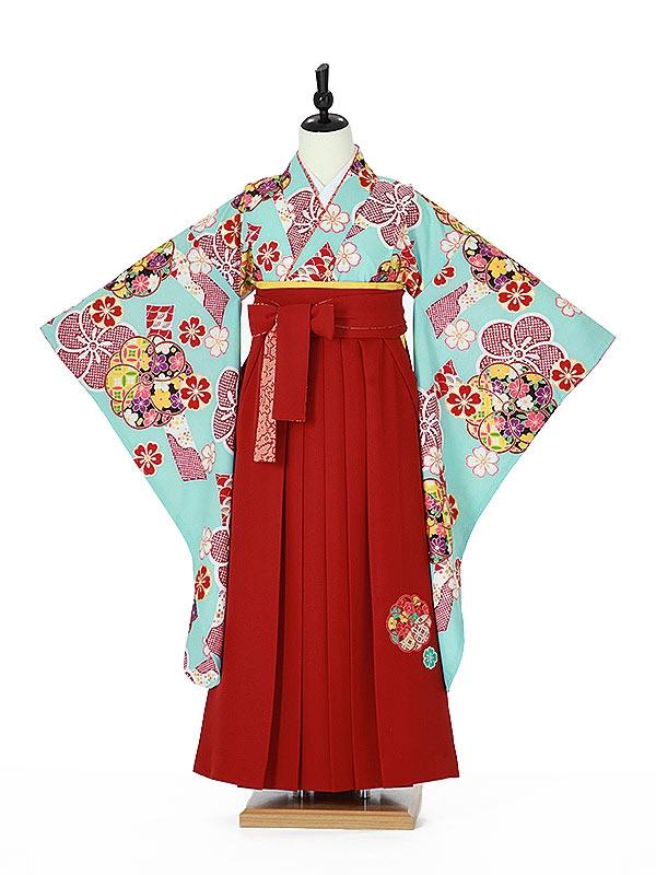 ジュニア袴女0020 水色 梅/えんじ色袴