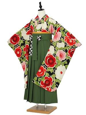 小学校卒業式ジュニア袴女0070 グリーン 椿 紅一点  緑刺繍袴
