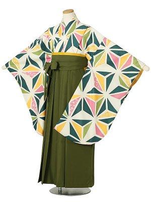 小学校卒業式ジュニア袴女0030 グリーン 麻の葉 緑袴