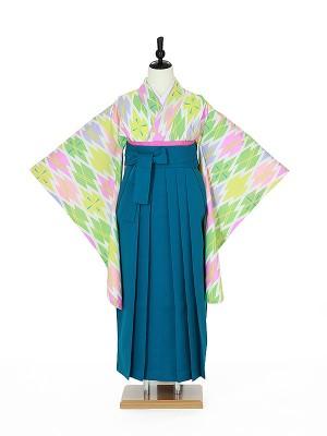 小学校卒業式ジュニア袴女0018 パステル 幾何学模様/青袴