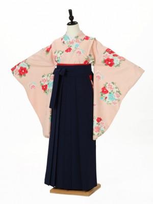 小学校卒業式ジュニア袴女0024 ピンク 縦縞 花輪 紺袴