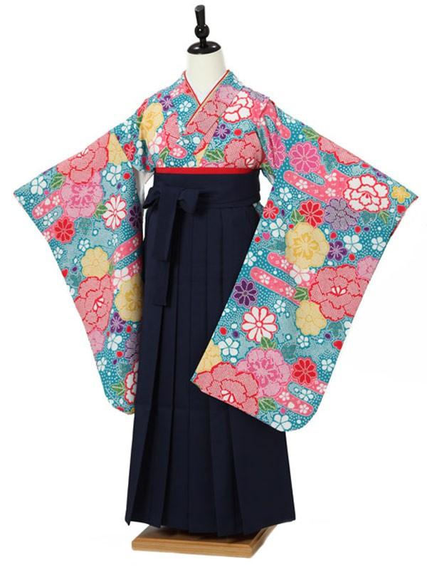 小学校卒業式ジュニア袴女0011 青 花模様/赤袴
