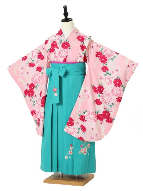 ジュニア袴女0013 ピンク 牡丹/花模様/グリーン袴