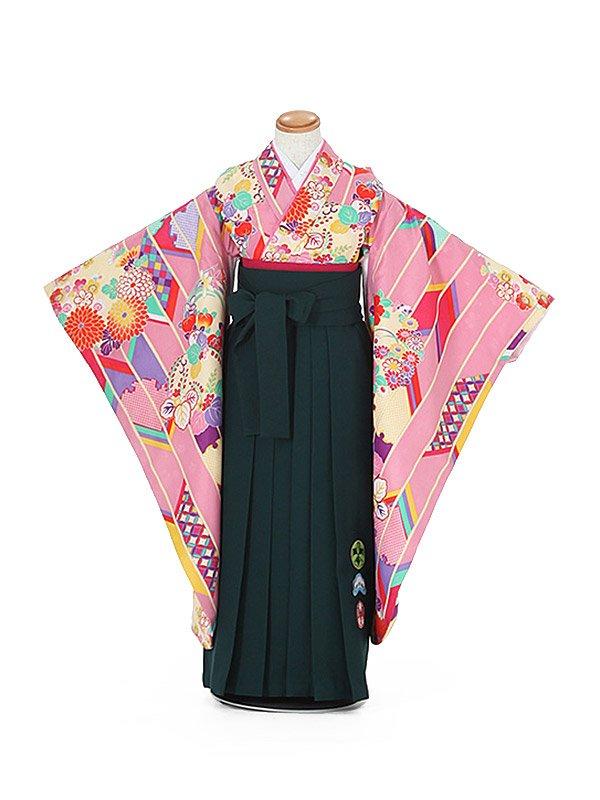 ジュニア袴女0022 ピンク 矢絣/花丸文/深緑袴
