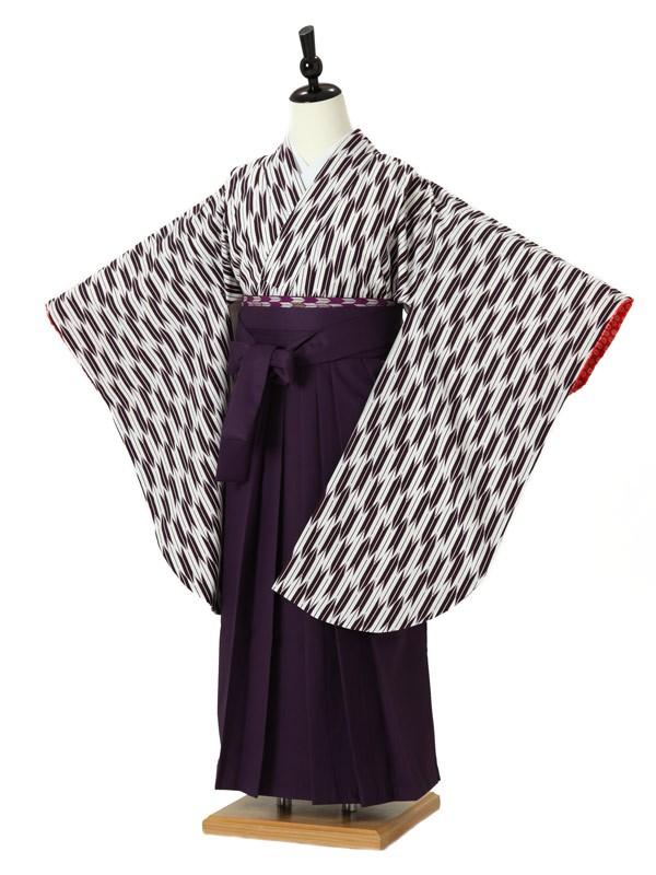 ジュニア袴女0004 紫 矢絣/紫袴