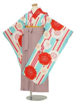小学校卒業式ジュニア袴女0067 水色 花ひめ 梅もよう ピンク刺繍袴