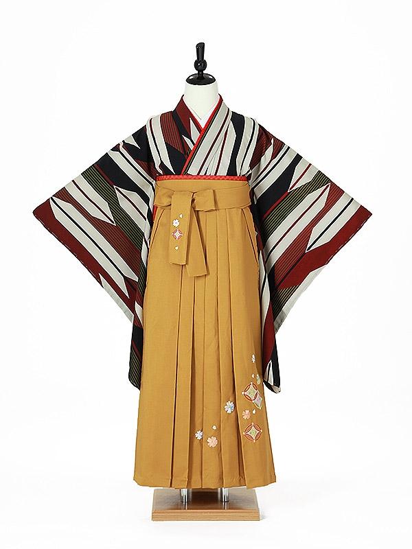 小学校卒業式ジュニア袴女0019 茶黒 矢絣/からし色袴
