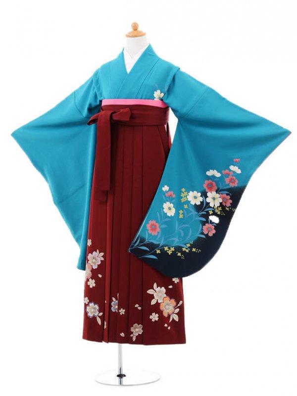 小学生卒業式袴(女の子)レンタルB067ターコイ