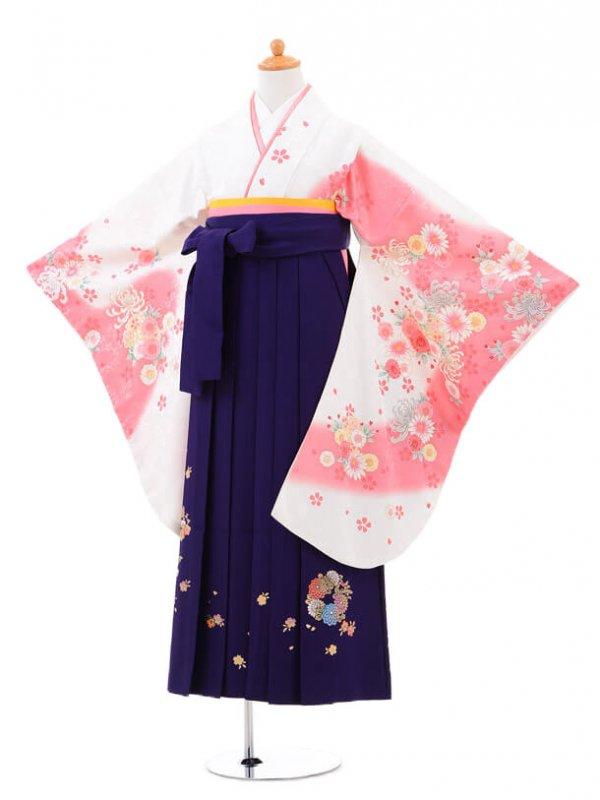 小学生卒業式袴(女の子)レンタルB017白に