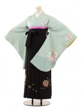 小学生卒業式袴女児B087薄グリーン×黒袴