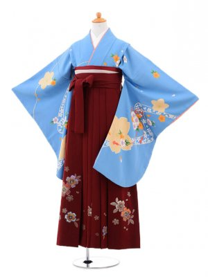 小学生卒業式袴(女の子)レンタルB012水色