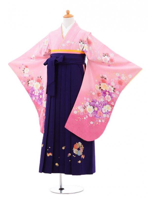 小学生卒業式袴(女の子)レンタルB015ピンク
