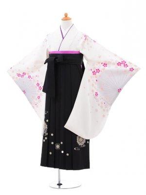 小学生卒業式袴(女の子)レンタルB016白地