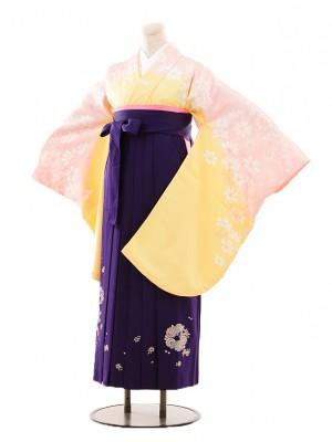 小学生卒業式袴女児B084イエローピンクコスモス×紫袴