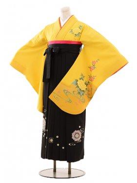 小学生卒業式袴女児B086黄色牡丹×黒袴