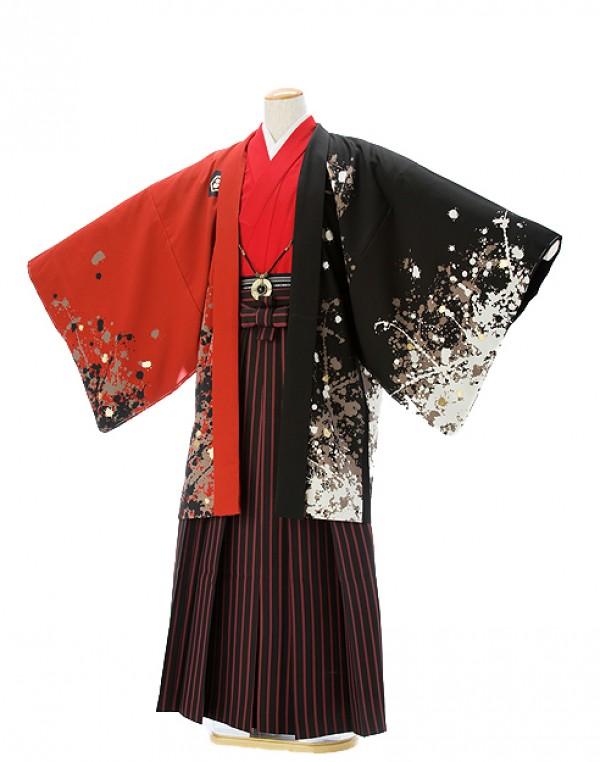 紋付0041ジャパンスタイル墨字の鯉柄赤
