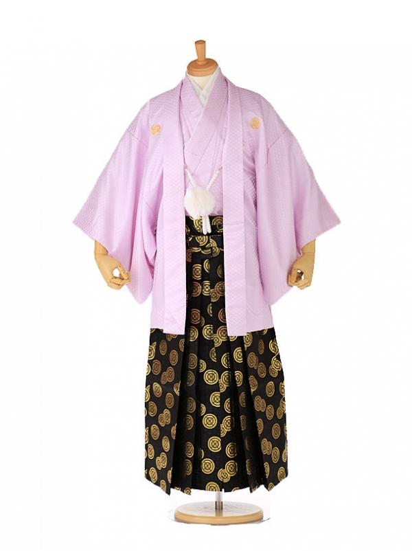 紋付 羽織着物 薄紫×黒金袴 xg0001