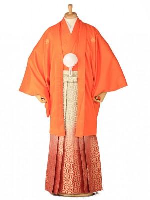 卒業式成人式袴レンタル オレンジ紋付×赤亀甲ボカシ0095