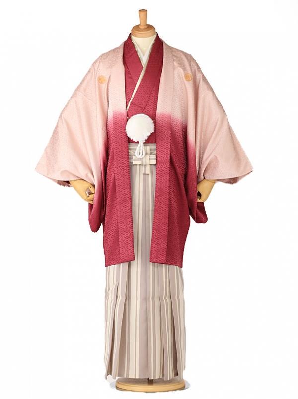 卒業式成人式袴レンタル ワインボカシ紋付×白縞0027