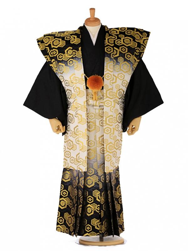 【肩衣】紋付 着物 ゴールドブラック 89
