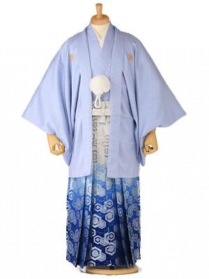 成人式 卒業式 男 袴レンタル アイグレー紋付×青シルバー袴 0104