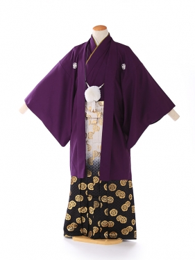 紋付 羽織着物 紫 Kansai 5号 xg0008