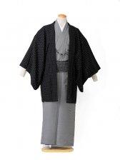 【着流し】羽織着物 黒ドット HANAE MORI 6号