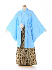 紋付 羽織着物 ブルー 6号