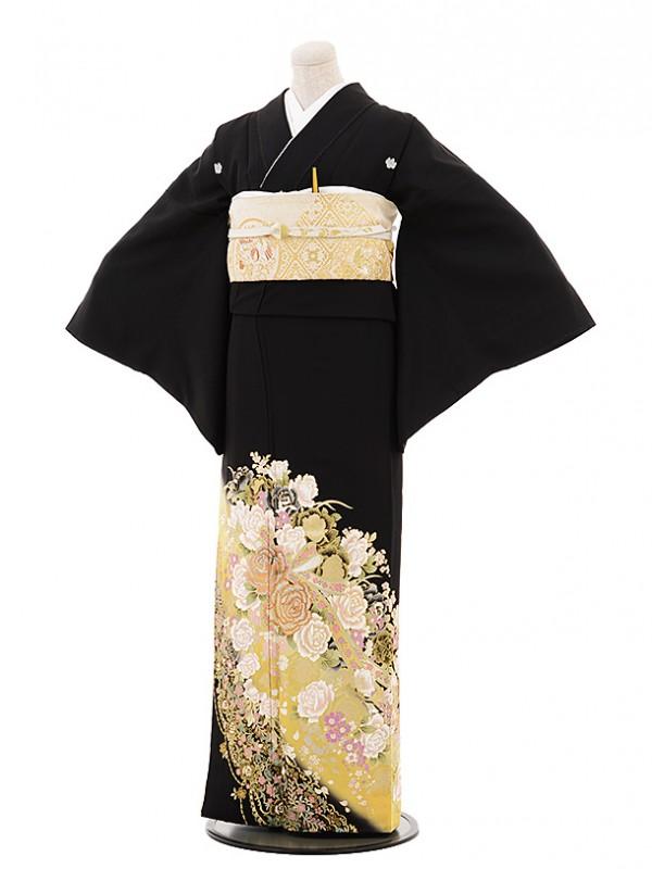 黒留袖レンタル4425桂由美バラの王室 イエロー