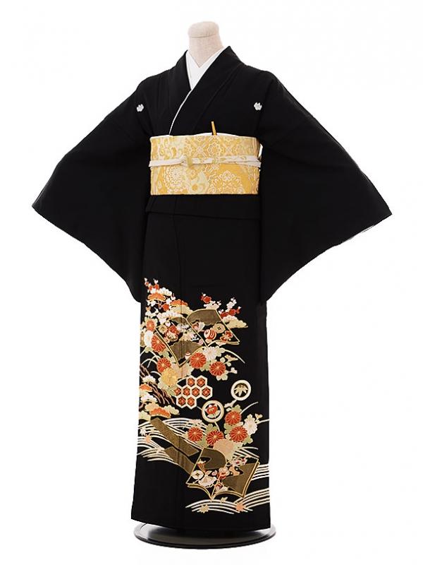 黒留袖レンタルQ4-80 総手刺繍 水面 菊