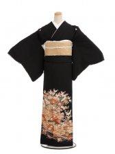 黒留袖レンタル4267花かご鶴