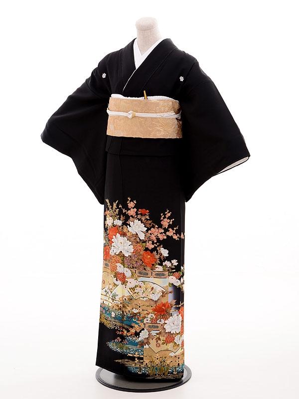 黒留袖レンタル4363寛斎豪華金糸刺繍