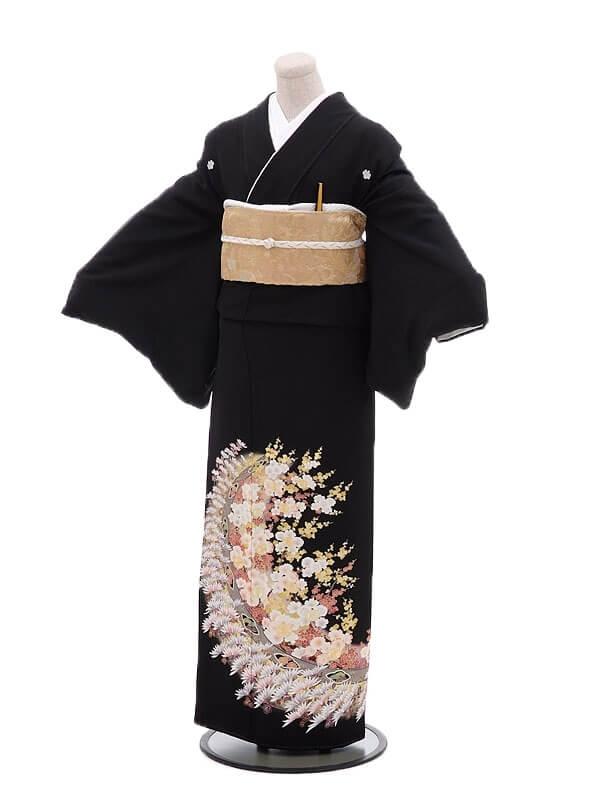 黒留袖レンタルQ4-65流れ菊