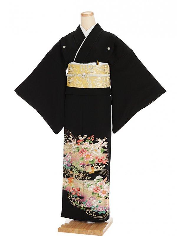 黒留袖レンタル4272紫ぼかし四季花