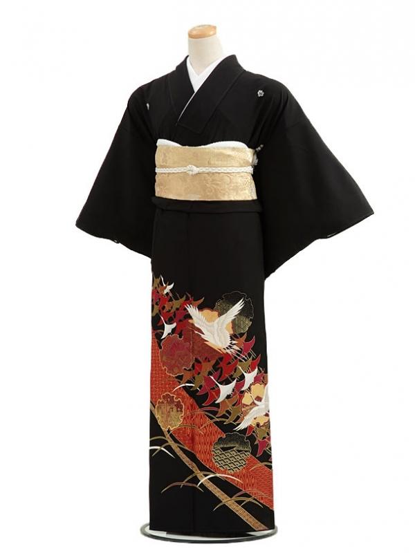 黒留袖レンタルC4008連鶴