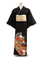 黒留袖レンタルC4011からし色に花かご