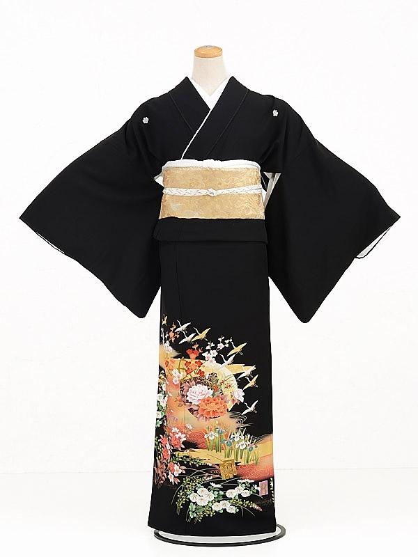黒留袖レンタルQ4-59四季花鶴