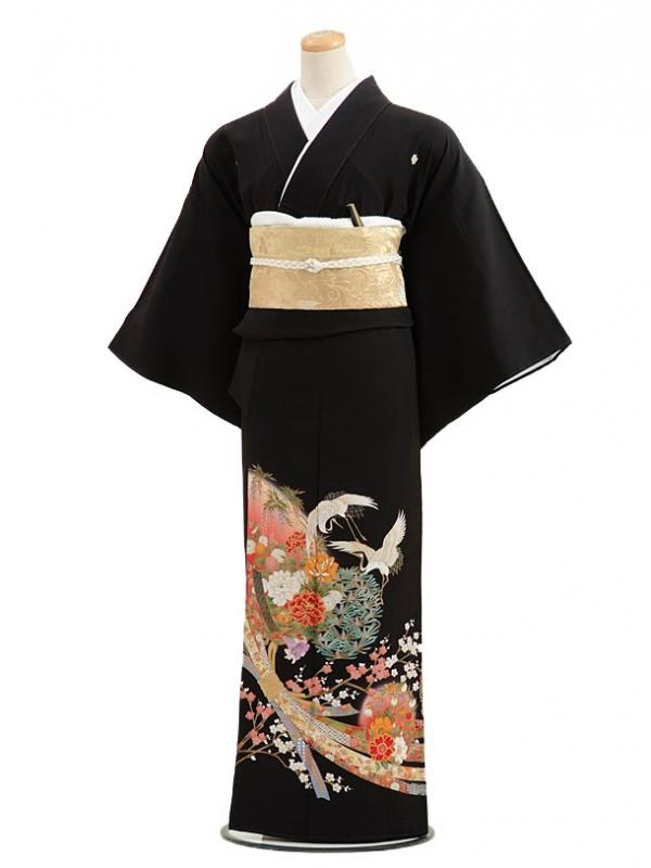 黒留袖レンタル4238束ね熨斗に花がたり