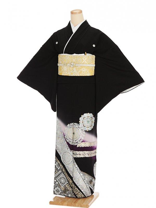 黒留袖レンタル4370華紋に菱紋柄ラメ入りパー