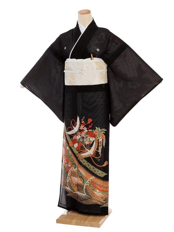 夏留袖4437 熨斗に鶴花扇