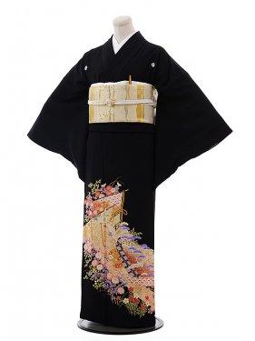 黒留袖レンタル4417鶴にのし花