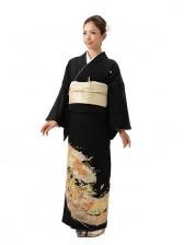 黒留袖レンタル4354熨斗に鶴