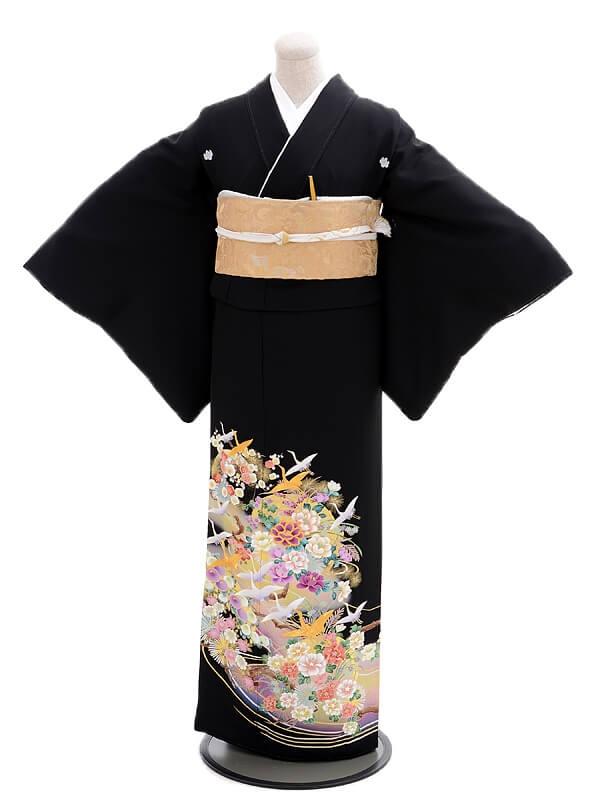 黒留袖レンタルQ4-73鮮色飛鶴