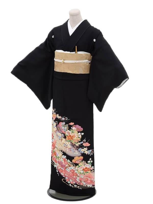 黒留袖レンタル4315花紋流れ