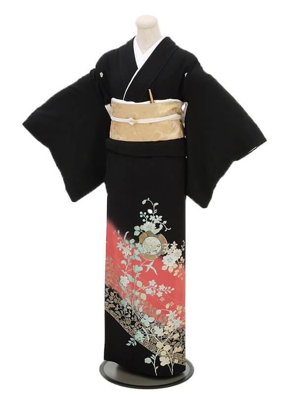 黒留袖レンタル4208ローズ地洋花