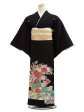 黒留袖レンタルC4012花とおしどり