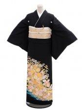 黒留袖Q4-74流れ熨斗花模様