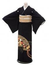 黒留袖レンタル4322扇刺繍