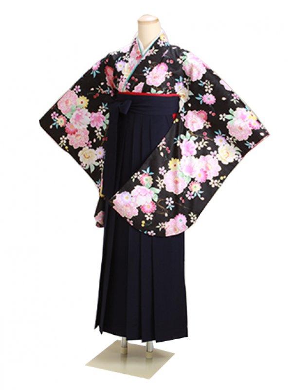 ジュニア袴 卒業式 黒 0294【身長150cm位】
