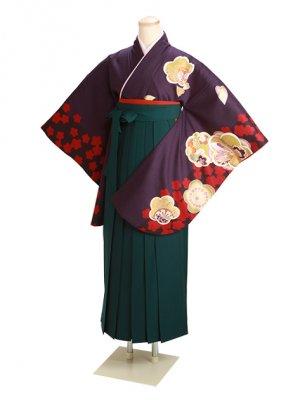 ジュニア袴 卒業式 紫 0269 緑袴【身長160cm位】